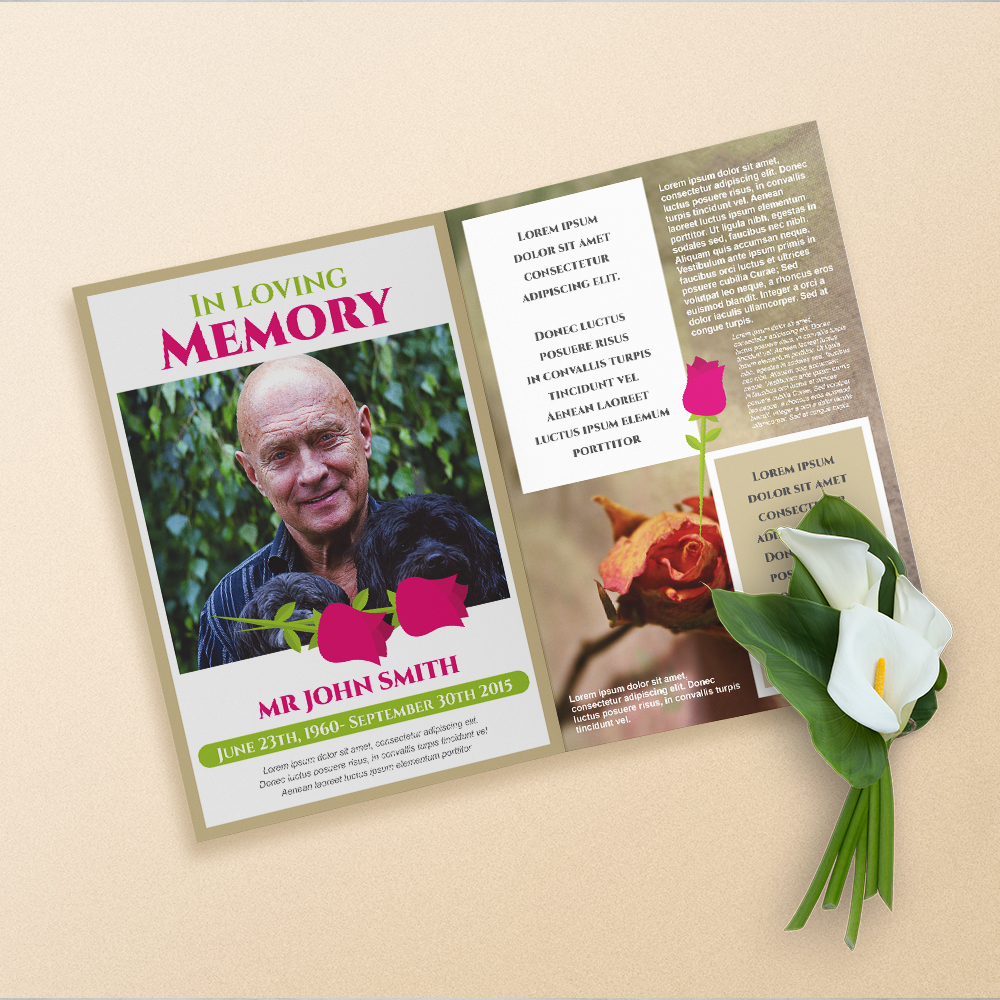 OBITUARY PRINTING, loved ones, dies, passing, funeral programs